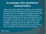 avantages des machines industrielles