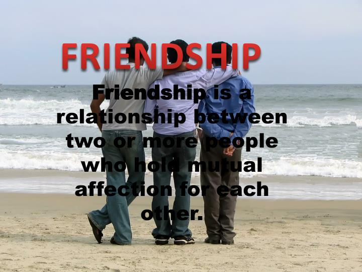 friendship is a relationship between two or more people who hold mutual affection for each other n.
