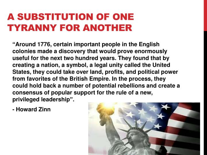 A substitution of one tyranny for another