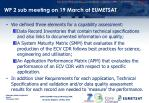 wp 2 sub meeting on 19 march at eumetsat