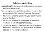 syllabus activities