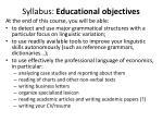 syllabus educational objectives