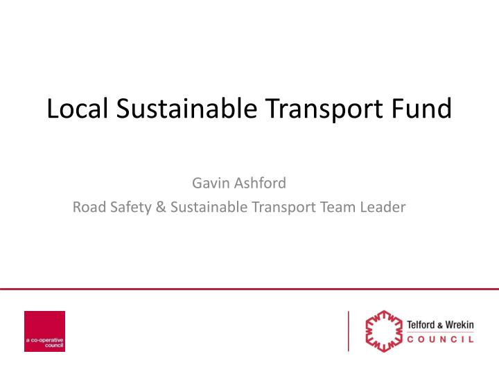 local sustainable transport fund n.