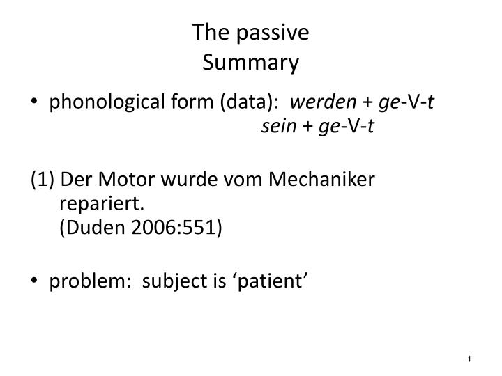 the passive summary n.