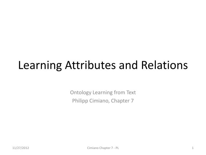 learning attributes and relations n.