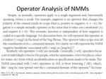 operator analysis of nmms