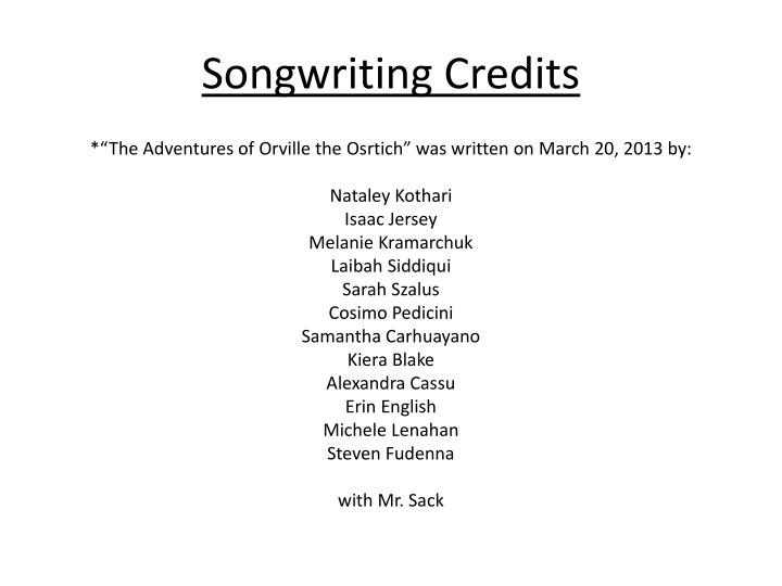 Songwriting Credits