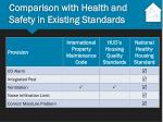 comparison with health and safety in existing standards