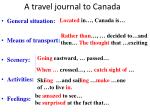 a travel journal to canada