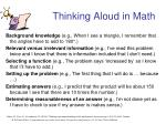 thinking aloud in math