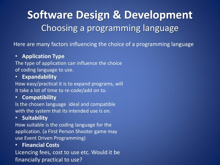 influential factors in choosing a programming language essay To help kids learn language and strengthen pre-reading skills, for instance choosing the right preschool 5 how old should my child be when she starts.