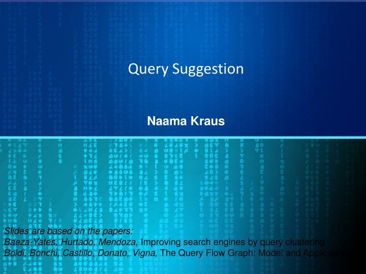 query suggestion n.