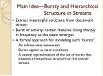 main idea bursty and hierarchical structure in streams
