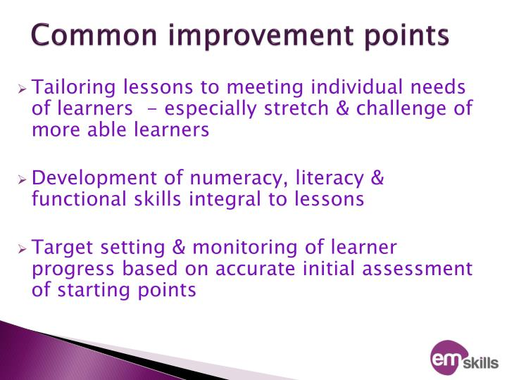 Common improvement points