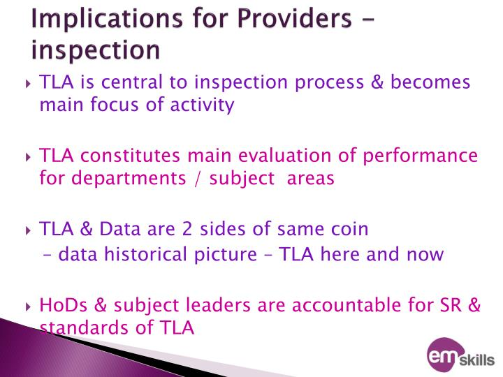 Implications for Providers - inspection