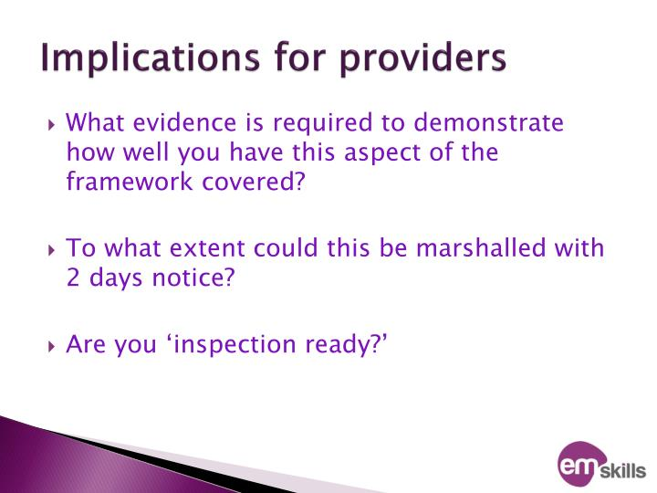 Implications for providers
