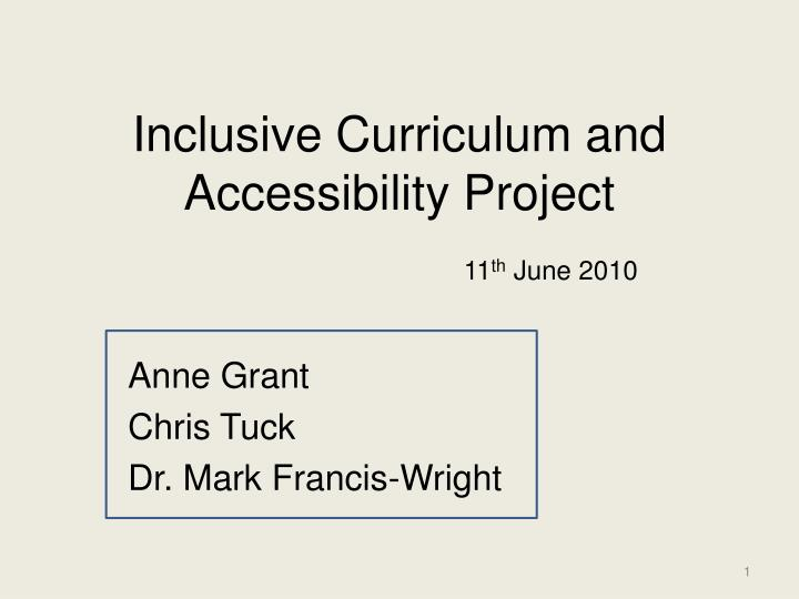 inclusive curriculum and accessibility project n.