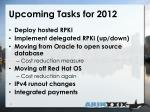 upcoming tasks for 2012
