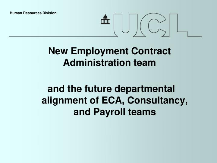 new employment contract administration team n.