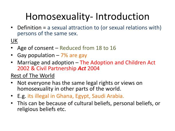 homosexuality essay introduction The current world has seen a fundamental change in the imagery and perception of human sexuality indebted in this aspect is the broad portfolio of the moral aspect that is governed by various sexual relationships such as homosexuality, lesbianism and opposite sex relationships.