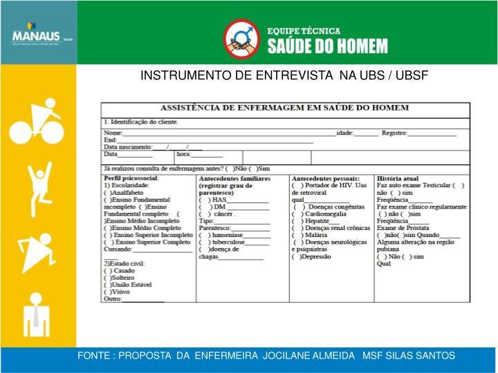 INSTRUMENTO DE ENTREVISTA  NA UBS / UBSF