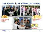 applying lean for continual improvement