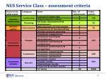 nus service class assessment criteria