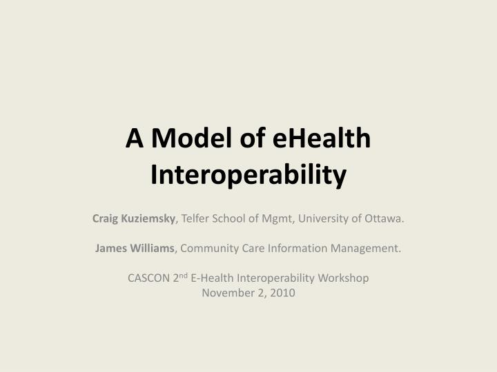 a model of ehealth interoperability n.