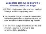 legislators continue to ignore the revenue side of the ledger