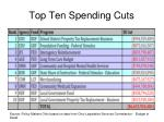 top ten spending cuts