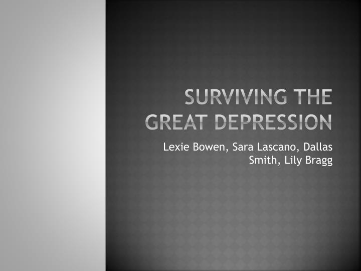 surviving the great depression n.