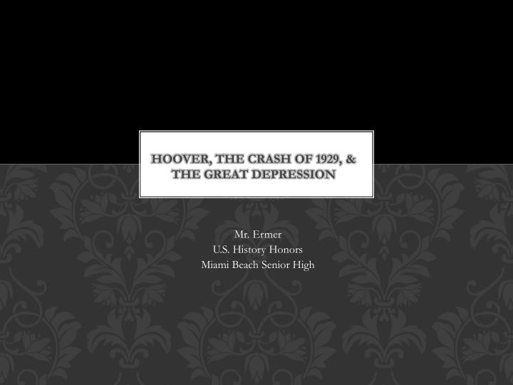 hoover the crash of 1929 the great depression n.
