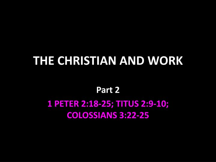 the christian and work n.