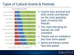 types of cultural events festivals
