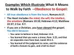 examples which illustrate what it means to walk by faith obedience to gospel