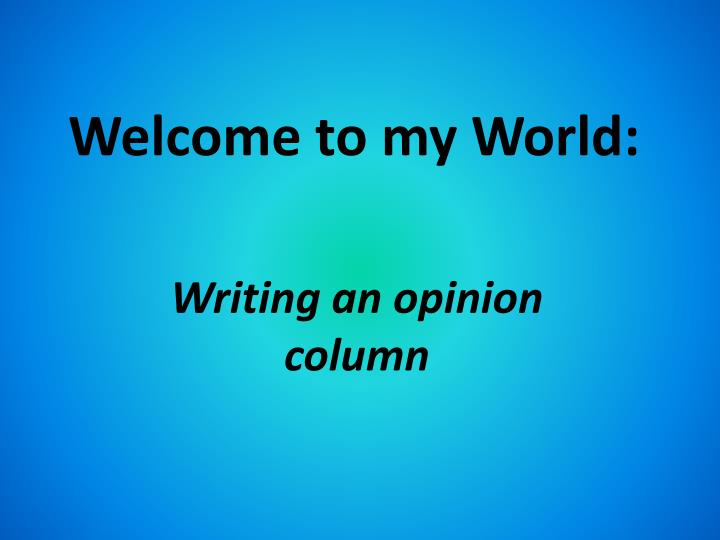 welcome to my world n.
