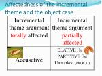 affectedness of the incremental theme and the object case
