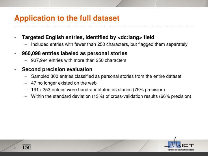 Application to the full dataset