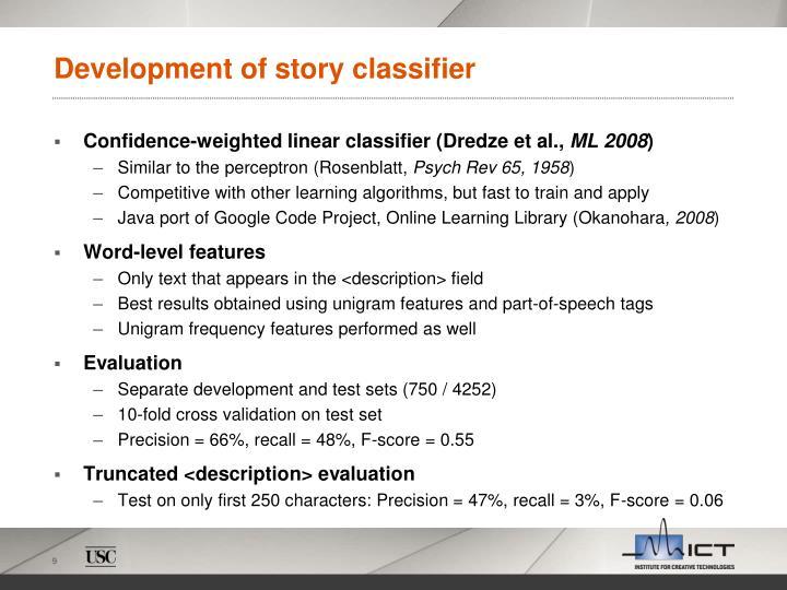 Development of story classifier