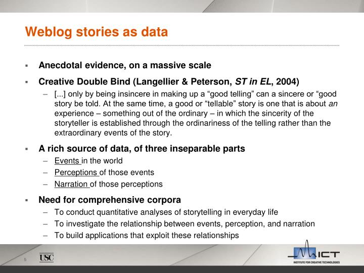 Weblog stories as data