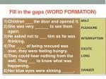 fill in the gaps word formation