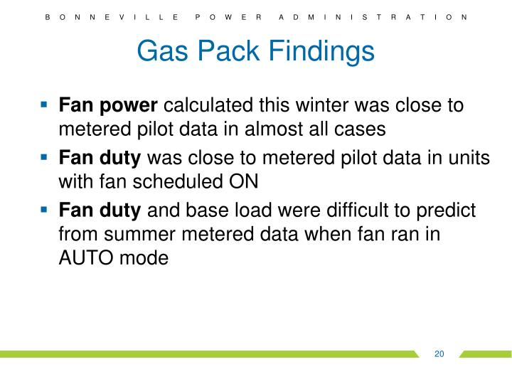 Gas Pack Findings