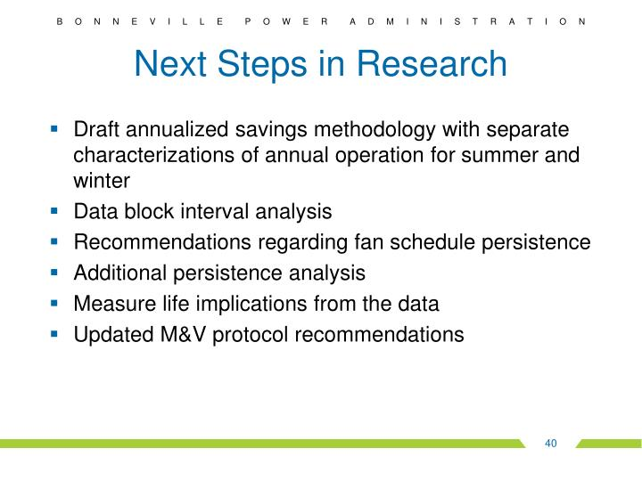 Next Steps in Research