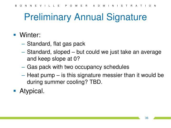 Preliminary Annual Signature