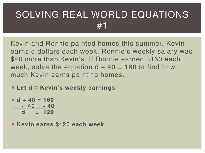 solving real world equations 1 n.