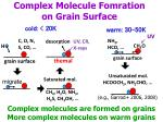 complex molecule fomration on grain surface