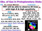 obs of gas in protoplanetary disks