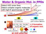 water organic mol in ppds