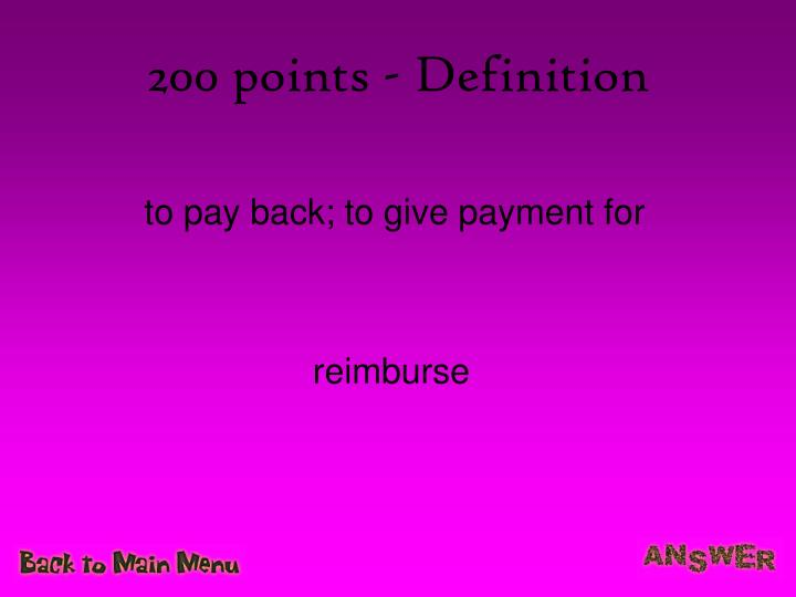 200 points definition