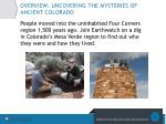 overview uncovering the mysteries of ancient colorado